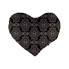Line Geometry Pattern Geometric Standard 16  Premium Flano Heart Shape Cushions by Amaryn4rt