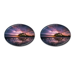 Landscape Reflection Waves Ripples Cufflinks (oval) by Amaryn4rt