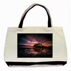Landscape Reflection Waves Ripples Basic Tote Bag by Amaryn4rt