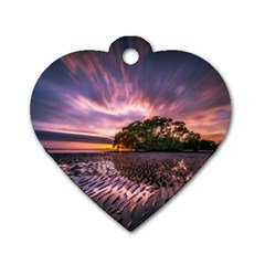 Landscape Reflection Waves Ripples Dog Tag Heart (one Side) by Amaryn4rt