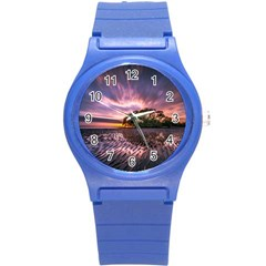 Landscape Reflection Waves Ripples Round Plastic Sport Watch (s) by Amaryn4rt