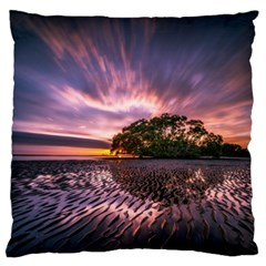 Landscape Reflection Waves Ripples Large Flano Cushion Case (two Sides) by Amaryn4rt