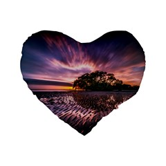 Landscape Reflection Waves Ripples Standard 16  Premium Flano Heart Shape Cushions by Amaryn4rt