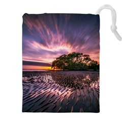 Landscape Reflection Waves Ripples Drawstring Pouches (xxl) by Amaryn4rt