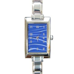 Lines Swinging Texture  Blue Background Rectangle Italian Charm Watch by Amaryn4rt