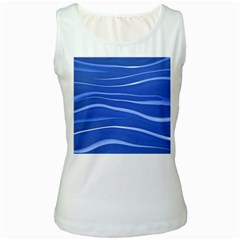 Lines Swinging Texture  Blue Background Women s White Tank Top by Amaryn4rt