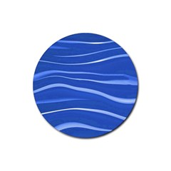 Lines Swinging Texture  Blue Background Rubber Round Coaster (4 Pack)  by Amaryn4rt