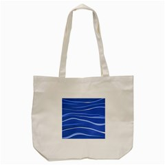 Lines Swinging Texture  Blue Background Tote Bag (cream) by Amaryn4rt