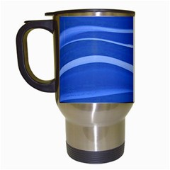 Lines Swinging Texture  Blue Background Travel Mugs (white) by Amaryn4rt