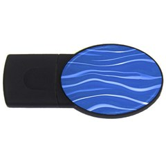Lines Swinging Texture  Blue Background Usb Flash Drive Oval (4 Gb) by Amaryn4rt