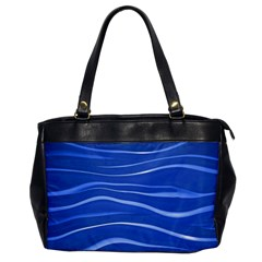 Lines Swinging Texture  Blue Background Office Handbags by Amaryn4rt