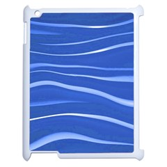Lines Swinging Texture  Blue Background Apple Ipad 2 Case (white) by Amaryn4rt