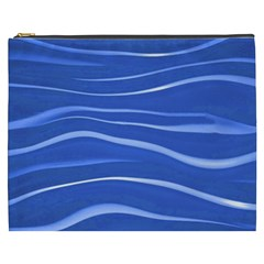 Lines Swinging Texture  Blue Background Cosmetic Bag (xxxl)  by Amaryn4rt