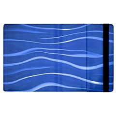 Lines Swinging Texture  Blue Background Apple Ipad 2 Flip Case by Amaryn4rt