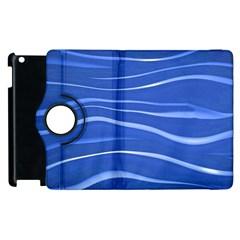 Lines Swinging Texture  Blue Background Apple Ipad 2 Flip 360 Case by Amaryn4rt
