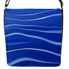 Lines Swinging Texture  Blue Background Flap Messenger Bag (s) by Amaryn4rt