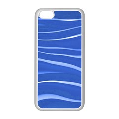 Lines Swinging Texture  Blue Background Apple Iphone 5c Seamless Case (white) by Amaryn4rt