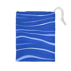 Lines Swinging Texture  Blue Background Drawstring Pouches (large)  by Amaryn4rt