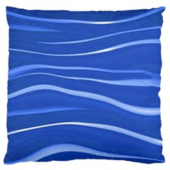Lines Swinging Texture  Blue Background Large Flano Cushion Case (two Sides) by Amaryn4rt
