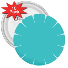 Turquoise Flower Blue 3  Buttons (10 Pack)  by Alisyart
