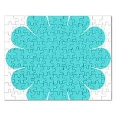 Turquoise Flower Blue Rectangular Jigsaw Puzzl by Alisyart