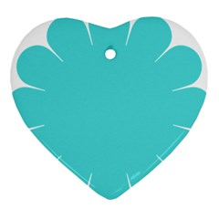 Turquoise Flower Blue Heart Ornament (two Sides) by Alisyart