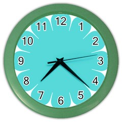 Turquoise Flower Blue Color Wall Clocks by Alisyart