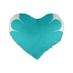Turquoise Flower Blue Standard 16  Premium Heart Shape Cushions by Alisyart