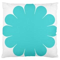 Turquoise Flower Blue Large Flano Cushion Case (two Sides) by Alisyart