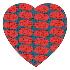 Rose Repeat Red Blue Beauty Sweet Jigsaw Puzzle (heart) by Alisyart