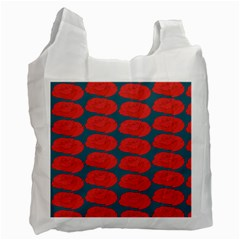 Rose Repeat Red Blue Beauty Sweet Recycle Bag (one Side) by Alisyart