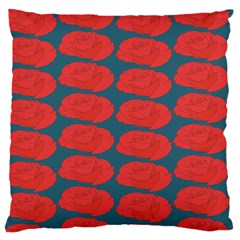 Rose Repeat Red Blue Beauty Sweet Large Cushion Case (two Sides) by Alisyart