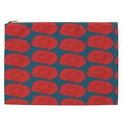 Rose Repeat Red Blue Beauty Sweet Cosmetic Bag (xxl)  by Alisyart