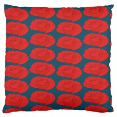 Rose Repeat Red Blue Beauty Sweet Large Flano Cushion Case (one Side) by Alisyart