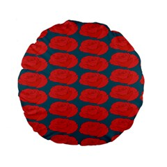 Rose Repeat Red Blue Beauty Sweet Standard 15  Premium Flano Round Cushions by Alisyart