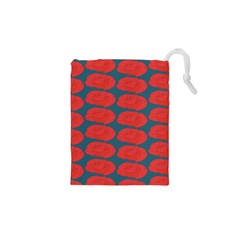 Rose Repeat Red Blue Beauty Sweet Drawstring Pouches (xs)  by Alisyart