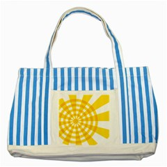 Weaving Hole Yellow Circle Striped Blue Tote Bag by Alisyart