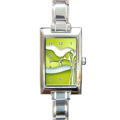 Tree Wood  White Green Rectangle Italian Charm Watch by Alisyart