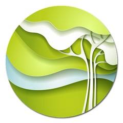 Tree Wood  White Green Magnet 5  (round) by Alisyart