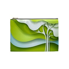 Tree Wood  White Green Cosmetic Bag (medium)  by Alisyart