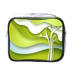 Tree Wood  White Green Mini Toiletries Bags by Alisyart