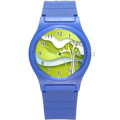 Tree Wood  White Green Round Plastic Sport Watch (s) by Alisyart