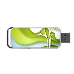 Tree Wood  White Green Portable Usb Flash (two Sides) by Alisyart