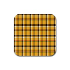 Plaid Yellow Line Rubber Square Coaster (4 Pack)  by Alisyart