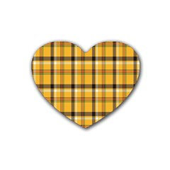 Plaid Yellow Line Rubber Coaster (heart)  by Alisyart