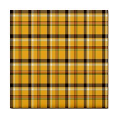 Plaid Yellow Line Face Towel by Alisyart