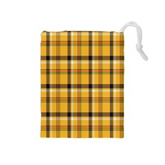 Plaid Yellow Line Drawstring Pouches (medium)  by Alisyart