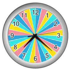 Rhythm Heaven Megamix Circle Star Rainbow Color Wall Clocks (silver)  by Alisyart