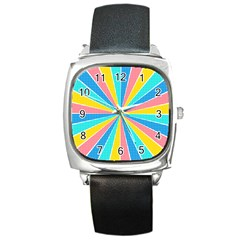 Rhythm Heaven Megamix Circle Star Rainbow Color Square Metal Watch by Alisyart