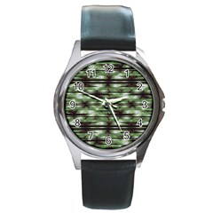Stripes Camo Pattern Print Round Metal Watch by dflcprints